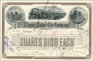 CHAUNCEY M. DEPEW - STOCK CERTIFICATE SIGNED 05/30/1888