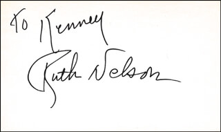 RUTH NELSON - INSCRIBED SIGNATURE