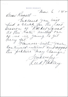 REED HADLEY - AUTOGRAPH LETTER SIGNED 03/06/1952
