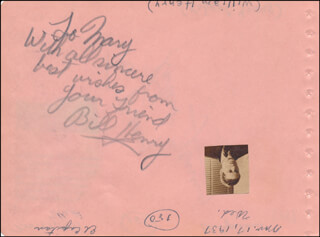 WILLIAM BILL HENRY - AUTOGRAPH NOTE SIGNED CIRCA 1937 CO-SIGNED BY: ROBERT YOUNG