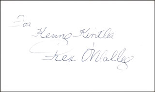 REX O'MALLEY - INSCRIBED SIGNATURE
