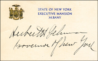 GOVERNOR HERBERT H. LEHMAN - CALLING CARD SIGNED