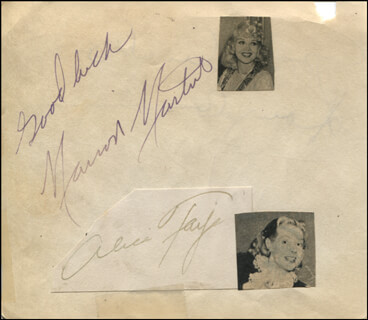 MARION MARTIN - AUTOGRAPH SENTIMENT SIGNED CO-SIGNED BY: ALICE FAYE