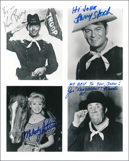 F TROOP TV CAST - PRINTED PHOTOGRAPH SIGNED IN INK CO-SIGNED BY: MELODY PATTERSON, LARRY STORCH, KEN BERRY, JOE BROOKS