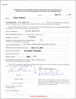 CHUCK CONNORS - CONTRACT SIGNED 06/18/1976