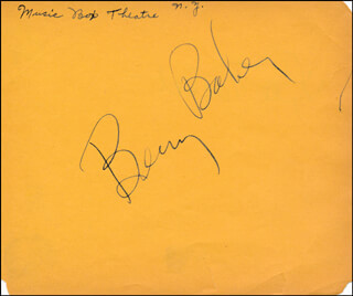 Autographs: BENNY BAKER - SIGNATURE(S) CO-SIGNED BY: LYLE TALBOT