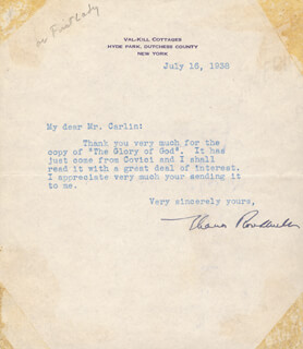 FIRST LADY ELEANOR ROOSEVELT - TYPED LETTER SIGNED 07/16/1938