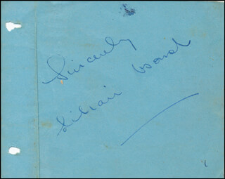 LILIAN BOND - AUTOGRAPH SENTIMENT SIGNED