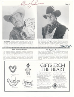 Autographs: BEN JOHNSON - PROGRAM PAGE SIGNED CO-SIGNED BY: ROYAL DANO, CATRINE CASH, JAMES CASH