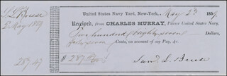 REAR ADMIRAL SAMUEL L. BREESES - RECEIPT SIGNED 05/28/1859