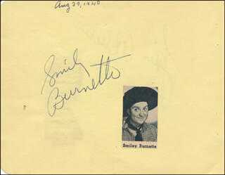 SMILEY (LESTER) BURNETTE - AUTOGRAPH CIRCA 1940 CO-SIGNED BY: LUIS ALBERNI