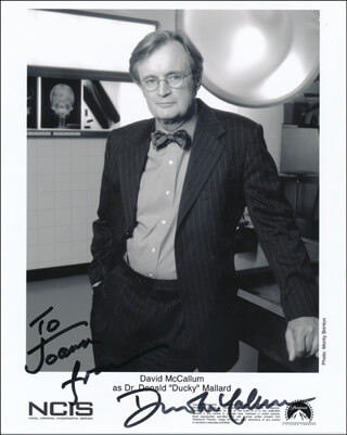 DAVID McCALLUM - INSCRIBED PRINTED PHOTOGRAPH SIGNED IN INK
