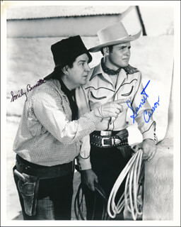 BORDERTOWN TRAIL MOVIE CAST - AUTOGRAPHED SIGNED PHOTOGRAPH CO-SIGNED BY: SUNSET CARSON, SMILEY (LESTER) BURNETTE
