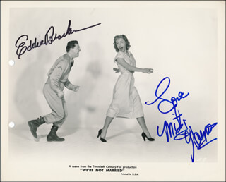 WE''RE NOT MARRIED MOVIE CAST - PRINTED PHOTOGRAPH SIGNED IN INK CO-SIGNED BY: EDDIE BRACKEN, MITZI GAYNOR