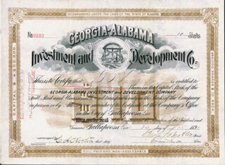 Autographs: MAJOR GENERAL BENJAMIN F. BUTLER - STOCK CERTIFICATE SIGNED 11/23/1891 CO-SIGNED BY: JAMES WILLIAM HYATT, C. A. NORTON, G. W. KEMPERLY