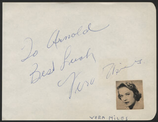 VERA MILES - AUTOGRAPH NOTE SIGNED