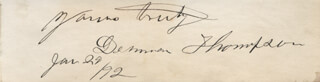 DENMAN THOMPSON - AUTOGRAPH SENTIMENT SIGNED 01/29/1892