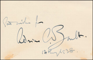 SIR ADRIAN C. BOULT - AUTOGRAPH SENTIMENT SIGNED 12/1938