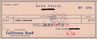 RUDY VALLEE - AUTOGRAPHED SIGNED CHECK 11/18/1946 CO-SIGNED BY: HARRY HARRISON