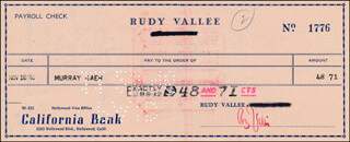 RUDY VALLEE - AUTOGRAPHED SIGNED CHECK 11/18/1946 CO-SIGNED BY: MURRAY GAER