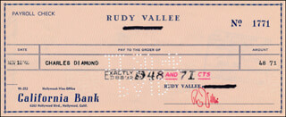 RUDY VALLEE - AUTOGRAPHED SIGNED CHECK 11/18/1946