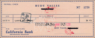 RUDY VALLEE - AUTOGRAPHED SIGNED CHECK 11/18/1946 CO-SIGNED BY: LOUIS BUTTERMAN