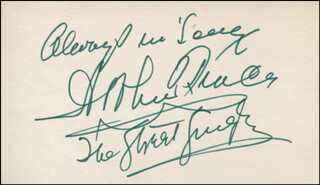ARTHUR TRACY - AUTOGRAPH SENTIMENT SIGNED