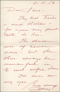 ZACHARY SCOTT - AUTOGRAPH LETTER SIGNED 02/14/1956