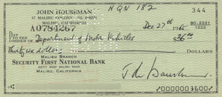 JOHN HOUSEMAN - AUTOGRAPHED SIGNED CHECK 12/27/1965