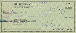 JOHN HOUSEMAN - AUTOGRAPHED SIGNED CHECK 12/17/1965