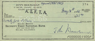 JOHN HOUSEMAN - AUTOGRAPHED SIGNED CHECK 05/16/1966