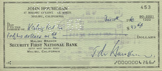 JOHN HOUSEMAN - AUTOGRAPHED SIGNED CHECK 06/10/1966