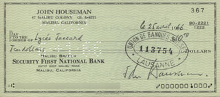 JOHN HOUSEMAN - AUTOGRAPHED SIGNED CHECK 06/25/1966