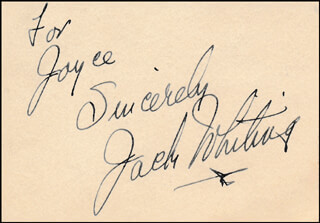 JACK WHITING - AUTOGRAPH NOTE SIGNED