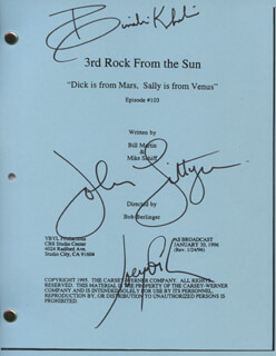 Autographs: 3RD ROCK FROM THE SUN TV CAST - SCRIPT SIGNED CO-SIGNED BY: JOHN LITHGOW, SIMBI KHALI, JOSEPH GORDON-LEVITT