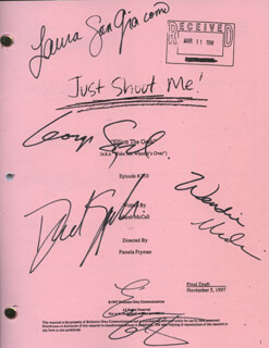 Autographs: JUST SHOOT ME TV CAST - SCRIPT SIGNED CO-SIGNED BY: GEORGE SEGAL, DAVID SPADE, WENDIE MALICK, LAURA SAN GIACOMO, ENRICO COLANTONI