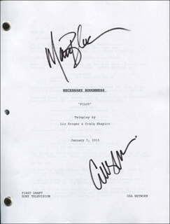 NECESSARY ROUGHNESS TV CAST - SCRIPT SIGNED CO-SIGNED BY: MARC BLUCAS, CALLIE THORNE