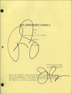Autographs: NO ORDINARY FAMILY TV CAST - SCRIPT SIGNED CO-SIGNED BY: JULIE BENZ, ROMANY MALCO