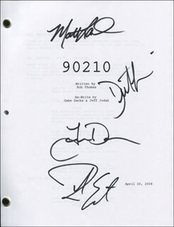 Autographs: 90210 TV CAST - SCRIPT SIGNED CO-SIGNED BY: TREVOR DONOVAN, MATT LANTER, DUSTIN MILLIGAN, ROB ESTES