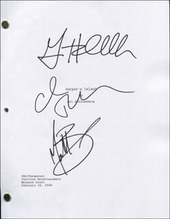 HARPERS ISLAND TV CAST - SCRIPT SIGNED CO-SIGNED BY: CAMERON RICHARDSON, GINA HOLDEN, MATT BARR