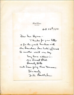RICHARD BARTHELMESS - AUTOGRAPH LETTER SIGNED 10/29/1940