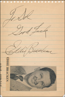 EDDIE BRACKEN - AUTOGRAPH NOTE SIGNED