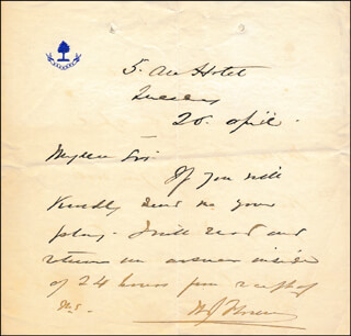 WILLIAM J. FLORENCE - AUTOGRAPH LETTER SIGNED 04/20
