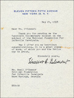 ELEANOR ROBSON BELMONT - TYPED LETTER SIGNED 05/29/1958