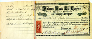 Autographs: GEORGE M. PULLMAN - STOCK CERTIFICATE SIGNED 05/25/1869