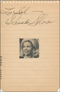 DINAH SHORE - INSCRIBED SIGNATURE