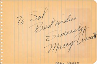 MARCY WESTCOTT - AUTOGRAPH NOTE SIGNED