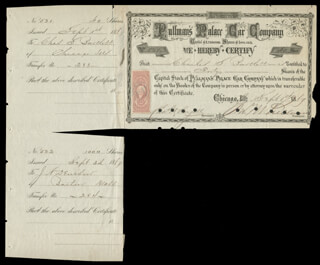 Autographs: GEORGE M. PULLMAN - STOCK CERTIFICATE SIGNED 09/01/1869