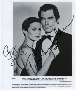 LICENCE TO KILL MOVIE CAST - AUTOGRAPHED SIGNED PHOTOGRAPH CO-SIGNED BY: CAREY LOWELL, TIMOTHY DALTON