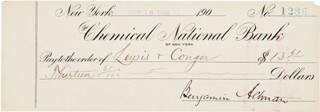 BENJAMIN ALTMAN - AUTOGRAPHED SIGNED CHECK 12/16/1905